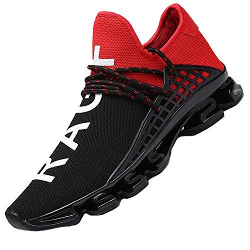 CAGAYA Sportschuhe Herren Laufschuhe Sneaker Mesh Atmungsaktive Sport Damen Turnschuhe Freizeitschuhe Schuhe größe 36-48 (45 EU, Rot)