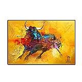 YWOHP Póster Mural Moderno Pintura en Lienzo Impresiones de Animales Red Bull para niños Sala de Est...