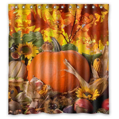 FMSHPON Autumn Leaves Happy Thanksgiving Day Pumpkin Sunflowers Waterproof Shower Curtain 66x72 Inches
