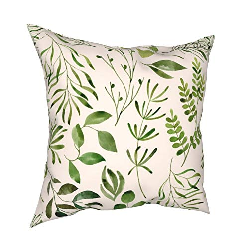 melendleo Cushion Cover 4pc Merry Christmas Decorative Pillowcases45 * 45cm Botanical Green Leaves Foliage On Cream Erinkendal