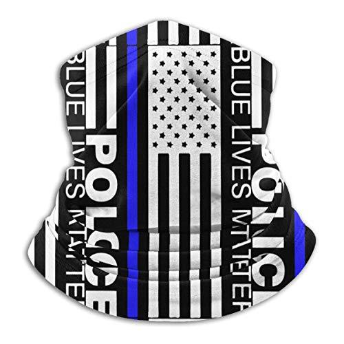 Dydan Tne Blue Lives Matter Police Hombres y Mujeres Calentador de Cuello Headwear Máscara de Bufanda Facial para Senderismo