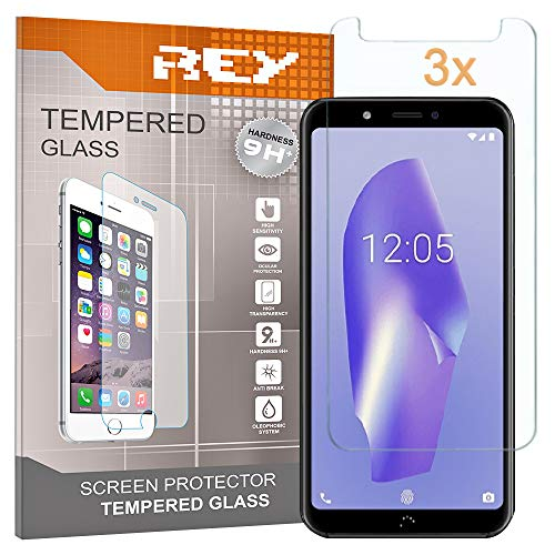 REY 3X Protector de Pantalla para BQ AQUARIS C - VSMART Joy 1, Cristal Vidrio Templado Premium