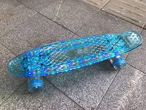 Chunhe 55,9 cm kleines Fischbrett Skateboard LED leuchtende Räder Erwachsene Banane Fish Board Flash Vier Räder Skateboard Brush Street Blue bei Nacht