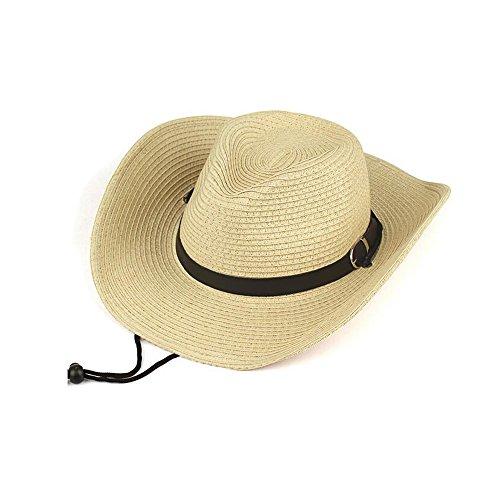 Sombrero de cowboy de paja de ala ancha para hombre, color blanco crema , hombre, blanco crema