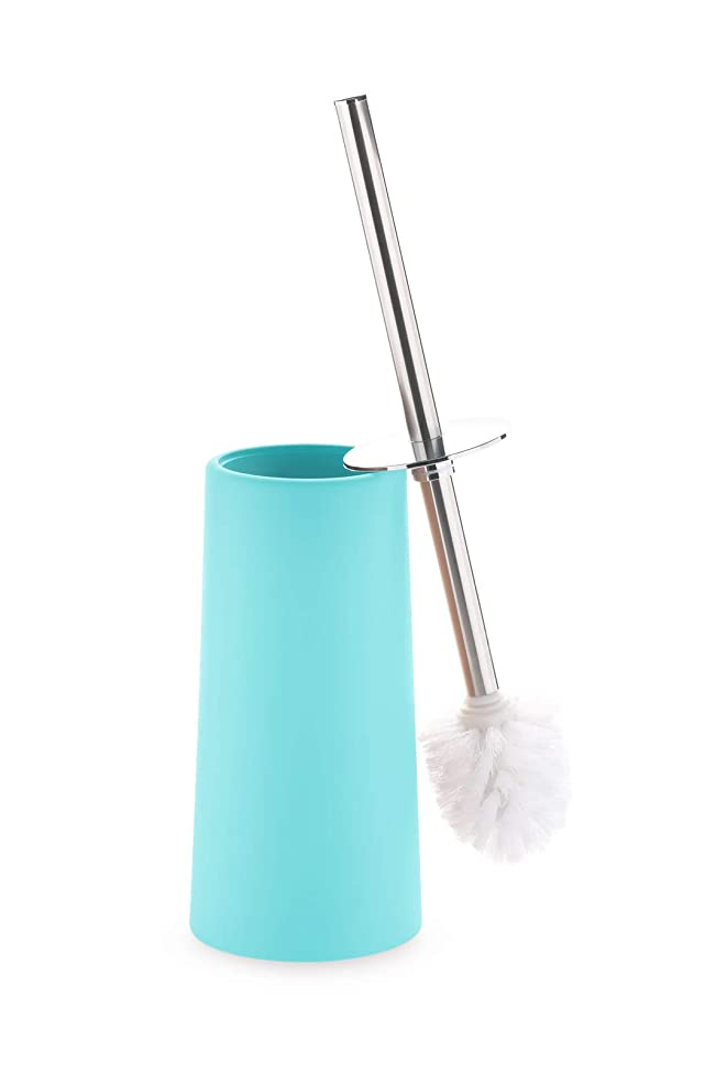 Toilet Bowl Brush and Holder- Stainless Steel Handle Toilet Scrubber- Modern Blue Classy Design