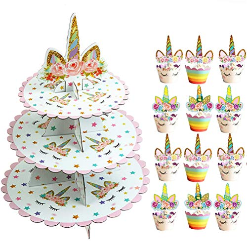 SUSHAFEN 12Pcs Unicorn Cupcake Toppers and Wrappers+1 Set 3 Tier Unicorn Cupcake Stand Cardboard Dessert Cupcake Holder for Kids Birthday Wedding Party Cake Decoration Unicorn Party Favors Supplies
