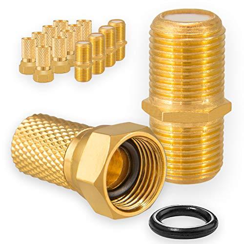 HB-DIGITAL 5X Verbinder 10x F-Stecker Set 7mm Vergoldet mit Gummidichtung breite Mutter für Koaxial Antennenkabel Verlängerung Sat Kabel BK Anlagen