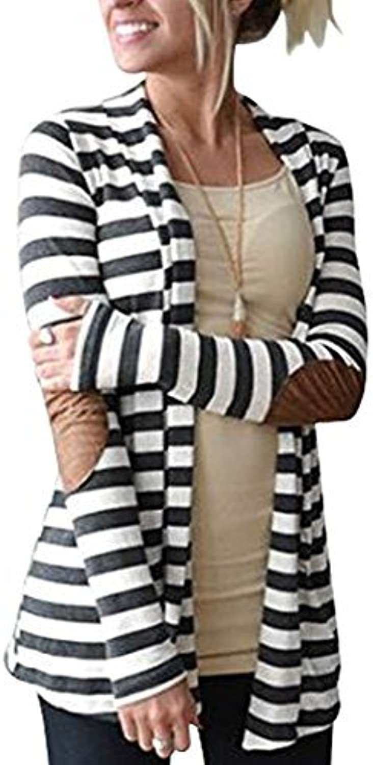 MerryFun Women's Shawl Collar Striped Cardigan Long Sleeve Elbow Patch Open Front Sweater top