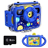 Ourlife Kids Camera, Selfie Waterproof Action Child Cameras,8MP 2.4 Inch Large Screen with 8GB SD Card for Children Toddler of Age 3,4,5,6+, Silicone Handle, Fill Light, 2019 Upgraded(Navy-Blue)