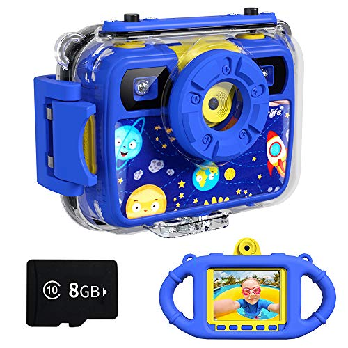 Ourlife Kids Camera, Selfie Waterproof Action Cameras Toys for Boys Age 6-15, 1080P 8MP 2.4 Inch Large Screen Cam with 8GB TF Card, Silicone Handle, Fill Light, Children Toddler Gift for Boys(Blue)