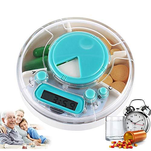 Intelligente elektronische ronde pillendoos met alarm, medicatieherinnering voor ouderen Kit draagbare plastic compartimentele medicijndoos multifunctioneel transparant