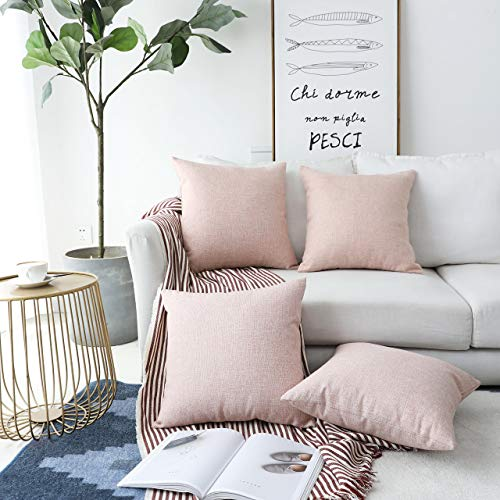 Home Brilliant Pillow Covers 18x18 Set of 4 Decorative Pillow Covers Linen Cushion Covers Square Pillows Covers for Couch Easter, Baby Pink, 45x45 cm
