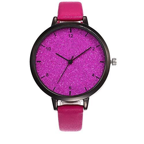 Lubier Relojes de pulsera de piel sintética y esfera de lujo brillante reloj de pulsera de cuarzo para mujeres y niñas standard-2 E