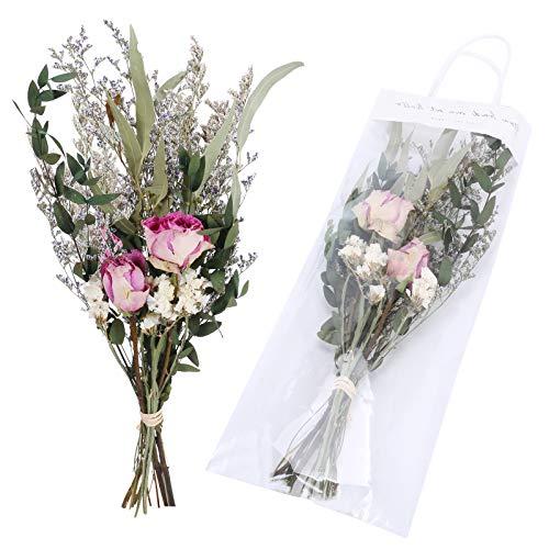 NAHUAA 2Pcs Getrocknete Blumen Trockenblumen Rose Deko Schleierkraut Gypsophila Getrocknet Getrocknete zweige für Vase Tischdeko Geschenk Fotografie Blumenarrangement