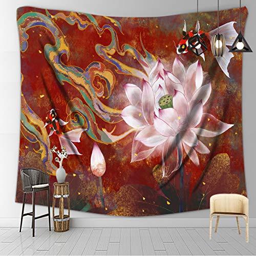 N/A Decoración de tapices Lotus Flower Tapestry Bohemian Wall Decor Mandala Tapiz Wall Carpet Tela de poliéster Tela de la Pared
