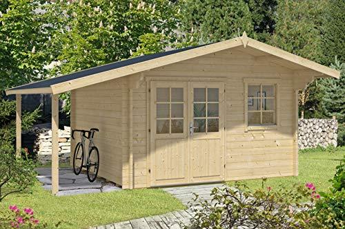 Alpholz Gartenhaus Franco Premium aus Massiv-Holz | Gerätehaus mit 44 mm Wandstärke | Garten Holzhaus inklusive Montagematerial | Geräteschuppen Größe: 380 x 380 cm + 150 cm | Satteldach