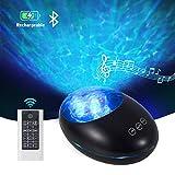Lampe Projecteur LED avec télécommande et minuterie, lampe de projecteur Bluetooth rechargeable par USB avec 7 modes de couleur et 8 mélodies de nature ambiante(negro)