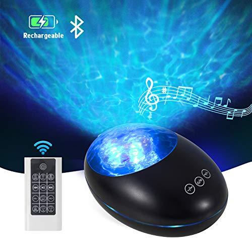 Ozeanwellen-Projektor-Lampe, Nachtlicht mit Fernbedienung und Timer, USB-aufladbare Bluetooth-Projektorlampe mit 7 Farbmodi und 8 Umgebungs-Melodien für Kinder und Erwachsene, Raum-Party-Dekoration