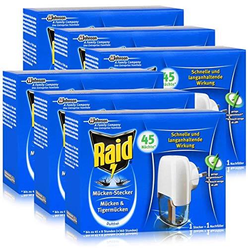 Raid Mücken-Stecker inkl. Nachfüller - Gegen Mücken & Tigermücken - Schützt bis zu 45 Nächte, jeweils 8 Stunden - Schnelle und langanhaltende Wirkung - Duftfrei (6er Pack)