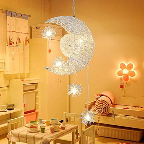 Luminaires suspendus Moon Star Chandelier -Moon & Star Sweet Bedroom Lights Lustre Plafonnier (Couleur : A)