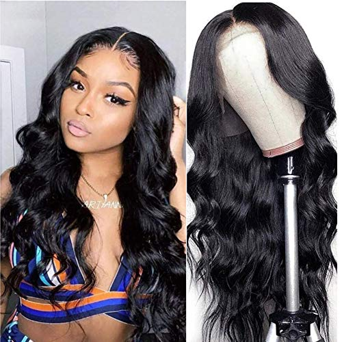 LAPONDAI Lace Front Wigs Human Hair Pre Plucked Body Wave 13x4 Lace Frontal Wig with Baby Hair 100% Human Hair Wigs for Black Women 150% Denisty Brazilian Real Hair Natural Color (Body Wave 22Inch)