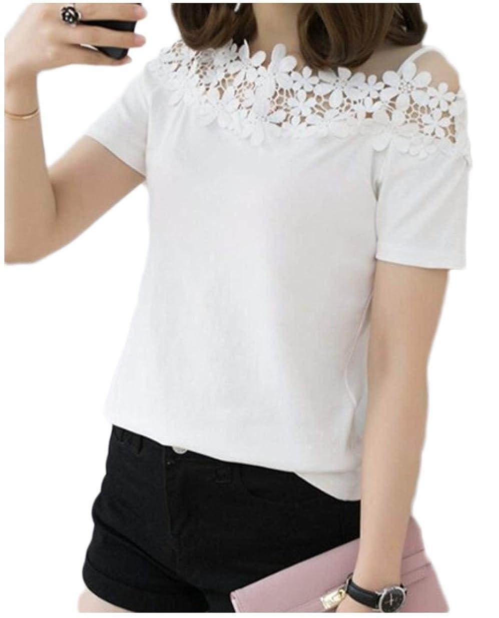 怒って接尾辞葬儀[フェイミー] オフショル Tシャツ 半袖 花柄 レース レディース M ~ XL