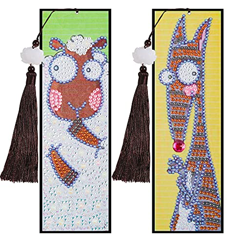 2 Pieces Diamond Painting Kits DIY Sheep and Kangaroo Bookmarks with Tassel Leather Bookmark Art Craft 5D Special Shaped Paint by Numbers for Adults Kids Students Gift (6x21cm)