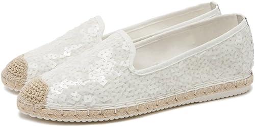 DHG Chaussures Sauvages de Toile de Dame Sauvage de de Printemps, Chaussures Simples de Paillettes Plates Femelle Tête Ronde, Sandales d'été de Les Les dames,Blanc,35  profitez d'une réduction de 30 à 50%