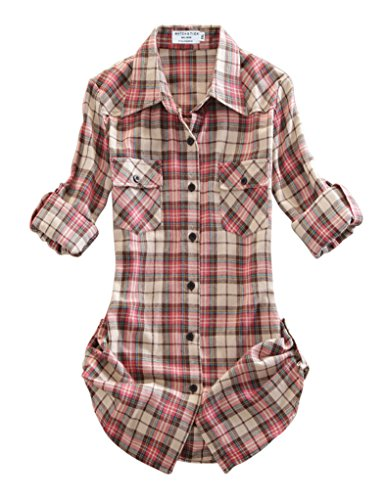 Matchstick Damen Flanell Kariert Shirt #B003(2021 Checks#9,Medium(Fit 35''-37''))