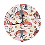 SSOIU Cartoon Sushi Wall Clock,Googly Eyes Flying Fish roe Kawaii Japanese Silent Non-Ticking Round Wall Clock Battery Operated for Home Office School Decorative Clock Art