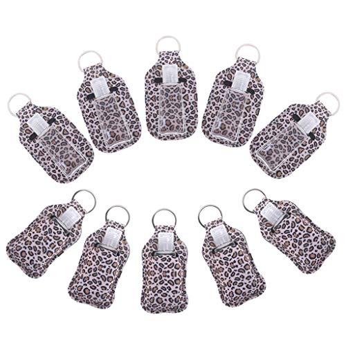 Poluka - 10 botellas recargables de plástico de 30 ml con patrones creativos de estampado de leopardo, funda protectora desmontable, botellas de belleza reutilizables, diseño de llavero, sin líquido