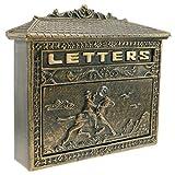 PrimeMatik - Cassetta delle Lettere Casella Postale per Lettera e Posta Antico ghisa Colore ossido Parete Cavallo