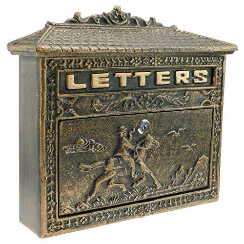 PrimeMatik - Oude gietijzeren brievenbus voor brieven en post in de kleur van het roestpaard
