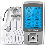 TENS EMS Unit 24 Modes Muscle Stimulator, TEC.BEAN Rechargeable TENS Machine Massager with 8 Electrode Pads (American Gel), Electric Pulse Massager for Pain Relief Therapy