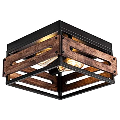 MAYNA Antique Industrial Flush Mount Light Fixture, Metal and Wood Square Flush Mount Ceiling Light for Hallway Living Room Bedroom Kitchen Entryway Farmhouse, 2-Light, Black