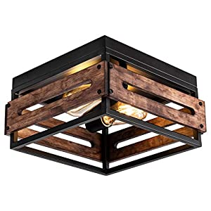 MAYNA Farmhouse Ceiling Light 2 Lights Industrial Ceiling Light Farmhouse Light Fixtures Ceiling Vintage Rustic Lights Metal and Wood Square Lighting Fixture for Hallway Living Room Farmhouse Lighting