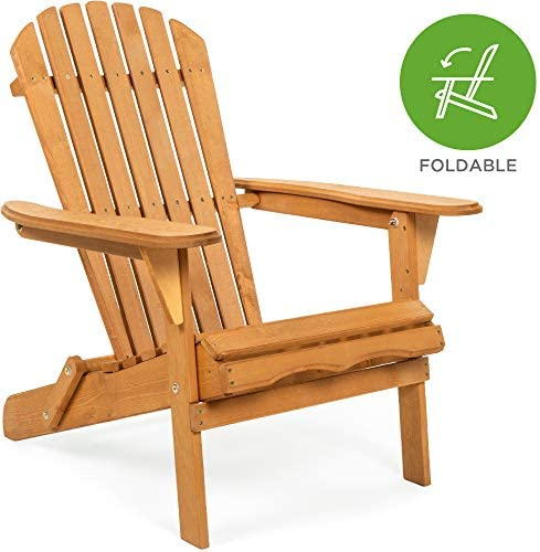 Best Best Choice Products Folding Wood Adirondack Chair Accent Furniture for Yard, Patio, Garden w/Natura