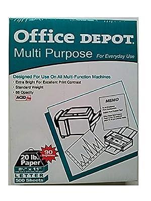 "Office Depot Multi-Purpose Paper, 8.5"" x 11"" Letter, 500 Sheets, 90 Brightness"