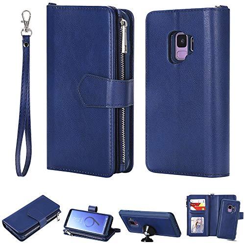 DodoBuy 2in1 Zipper Funda para Samsung Galaxy S9, Magnético Desmontable Flip Wallet Case Cremallera Cover Piel PU Billetera Soporte con Ranuras Tarjetas Correa para la Muñeca - Azul
