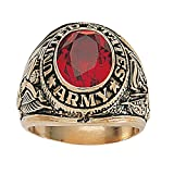 Palm Beach Jewelry Men's 14K Yellow Gold Plated Antiqued Oval Cut Simulated Red Ruby United States Army or Navy or Marines or Air Force Ring Size 10