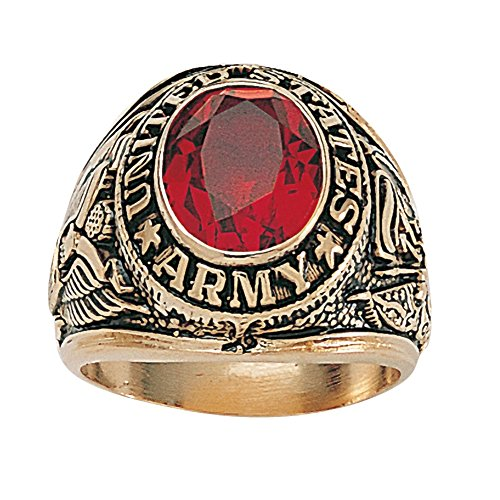 Palm Beach Jewelry Men's 14K Yellow Gold Plated Antiqued Oval Cut Simulated Red Ruby United States Army Ring Size 10