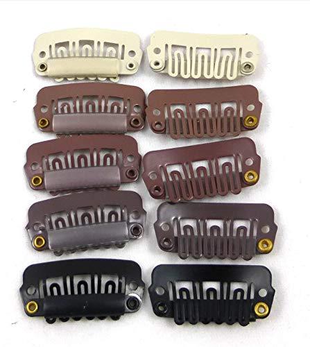 Tressenclips Gr. M 2,8x1,4 cm Clips Clip in Extensions Ersatz Tressen Clip Haartressen (10 Stück, blond)