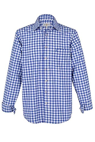 Almsach Herren Trachtenhemd blau-Weiss karo Langarm von Gr. S-XXXL - Der Klassiker für alle Oktoberfeste und Volksfeste, Jeans (blau), XXL