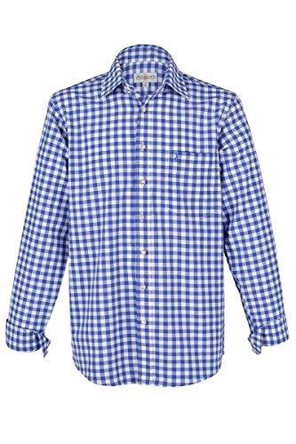 Almsach Herren Trachtenhemd blau-Weiss karo Langarm von Gr. S-XXXL - Der Klassiker für alle Oktoberfeste und Volksfeste, Jeans (blau), XL