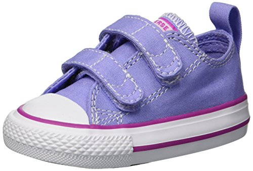 Converse Unisex-Baby Chuck Taylor All Star 2V Seasonal Low Top Sneaker, Twilight Pulse/Hyper Magenta, 2 M US Infant