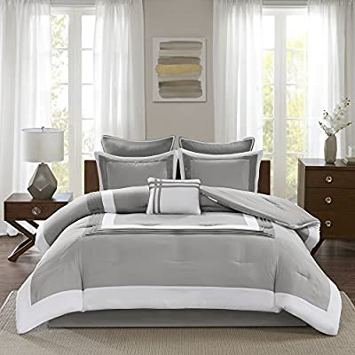 "Comfort Spaces Cozy Comforter Set-Modern Classic Design All Season Down Alternative Bedding, Matching Shams, Bedskirt, Decorative Pillows, King(104""x90""), Malcom, Hotel Deluxe Gray"