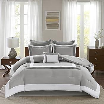 Comfort Spaces Cozy Comforter Set-Modern Classic Design All Season Down Alternative Bedding Matching Shams Bedskirt Decorative Pillows Queen  90 x90   Malcom Hotel Deluxe Gray 7 Piece