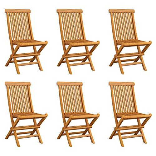 Tidyard Sillas de Jardín Plegables 6 Unidades Sillas de Terraza Patio Exterior Interior Madera Maciza de Teca 47 x 60 x 89 cm