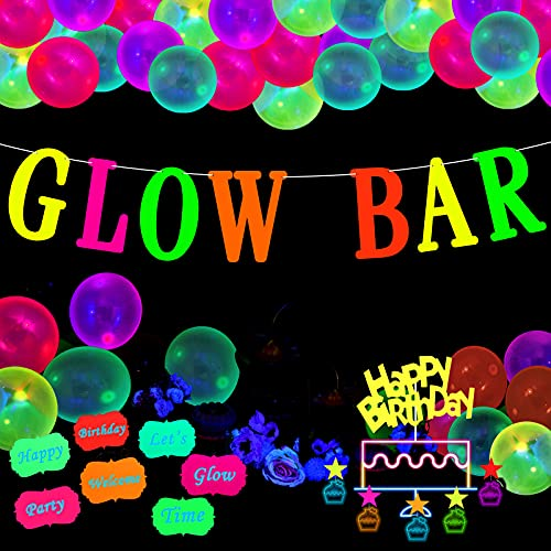 Glow Neon Party Supplies Glow Bar Banner Fluorescent Balloons Yellow Happy Birthday Cake Toppers Star Cupcake Toppers Fluorescent Table Tent Cards for Glow Birthday Party