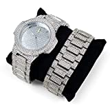 techno king watches for women - Techno King Men's Iced Out Hip Hop Metal Band Watch and Matching Studded Bracelet Gift Set GM1809-SL